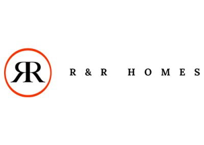 R&R Homes Logo. Red and Black font.