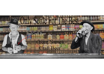 Beer Ad, two men drinking beer at bar.