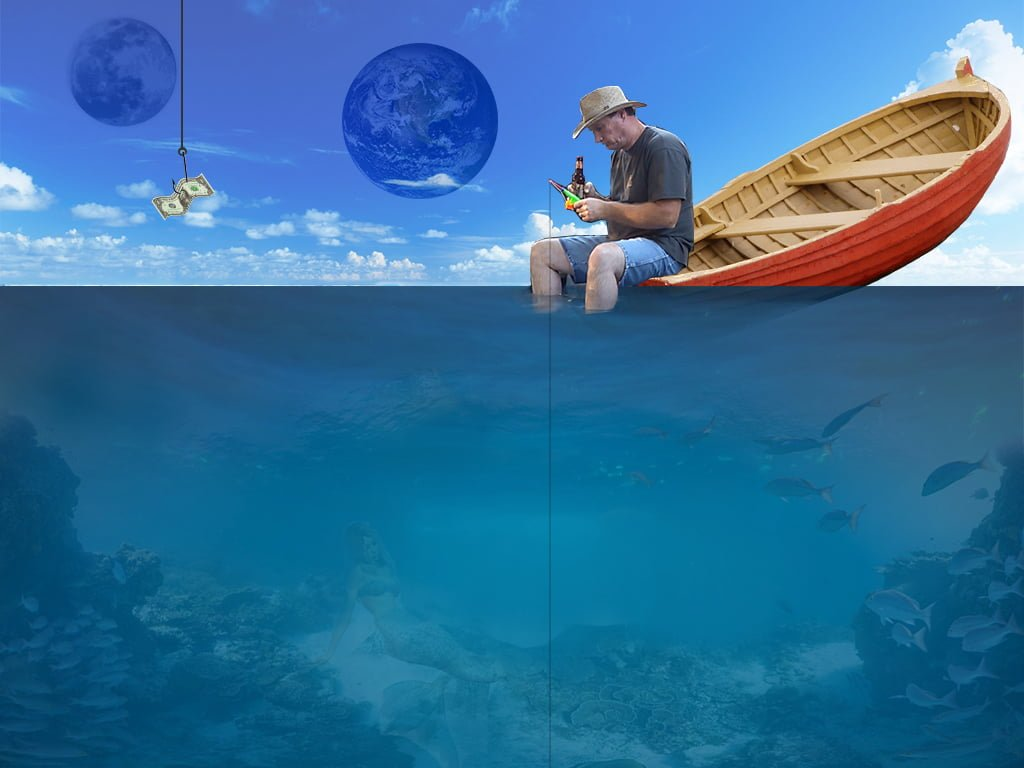CMVA Creative Ad. Man fishing in ocean from back of rowboat.
