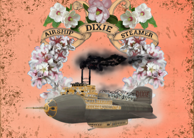 Airship Steamer Dixie. Fantasy Art by Teddy. Steam powered Airship, blimp made to look like cruise ship.