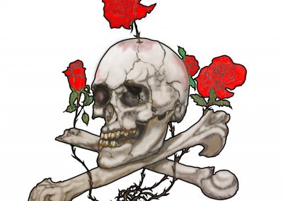 "Skull and cross bones with roses art. ""Bones and Roses"""