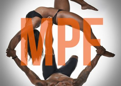 Fitness example logo, MPF. With fit couple image.