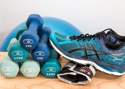Exercise equipment. dumbbells and shoes.
