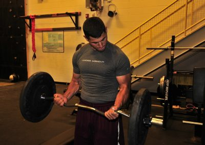 Weight lifter in a gym.