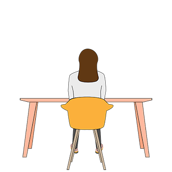 cmva 2d cartoon, woman at desk, arms up.
