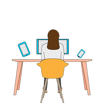 cmva 2d cartoon, woman at desk, arms up, with a variety of screen devices.
