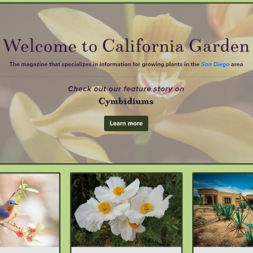 Front website page for California Gardens.
