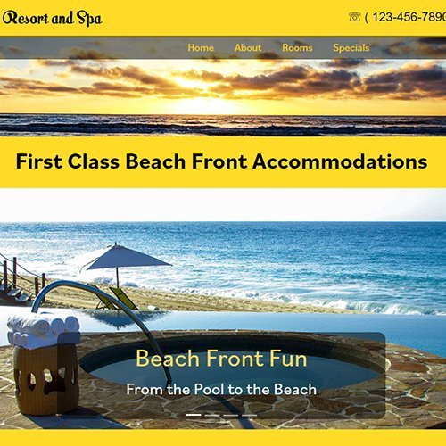 Website front page for, Ocean View Resort.