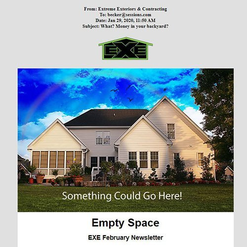 Image of a custom email layout for extreme exteriors.