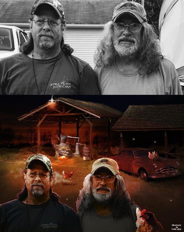 Photoshop image manipulation. Moonshine Brothers.