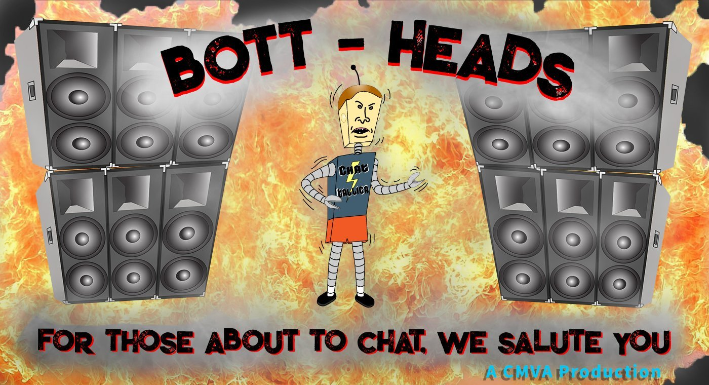 CMVA's banner for BottHeads. Cartoon character/robot, jamming out with speakers stacked behind it.