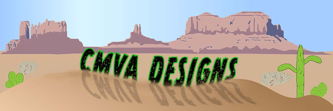 CMVA DESIGNS banner, logo. Desert background with cactus and plateaus.