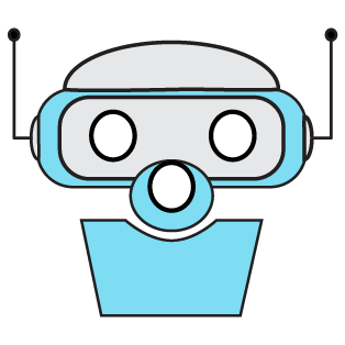 robot icon for chatbot. Color, blue.