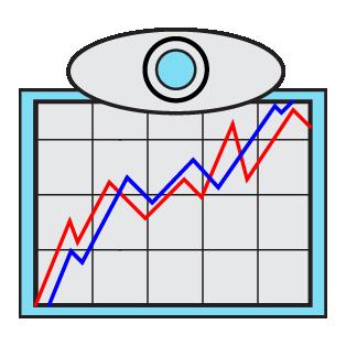 Digital marketing graph icon in blue.